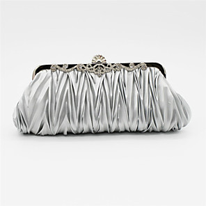 cheap Clutches & Evening Bags-Women's Crystal / Rhinestone Satin Evening Bag Wedding Bags Solid Colored Black / Watermelon Pink / Purple