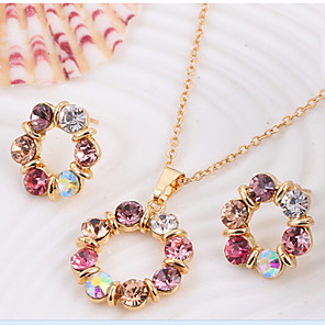 cheap Jewelry Sets-Jewelry Set Stud Earrings Pendant Necklace Ladies Party Rhinestone Rose Gold Plated Earrings Jewelry Rainbow For 1 set