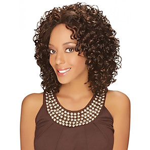 cheap Synthetic Trendy Wigs-Synthetic Wig Curly Curly Middle Part Wig Medium Length Brown Synthetic Hair Women's Heat Resistant Fashion African American Wig Brown