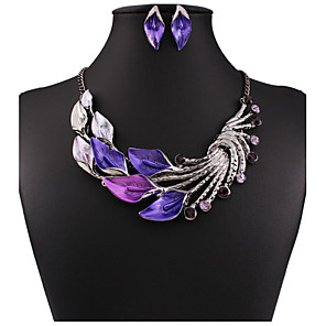 cheap Jewelry Sets-Women's Jewelry Set Drop Earrings Pearl Necklace Flower Statement Ladies Vintage Party Work Casual Cubic Zirconia Rhinestone Earrings Jewelry Purple / Green / Light Blue For Party Special Occasion