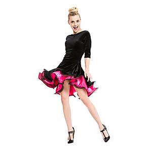 cheap Latin Dancewear-Latin Dance Dress Ruched Women's Performance Half Sleeve Velvet Viscose / Samba
