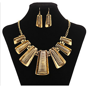 cheap Blush-Jewelry Set Geometrical Statement Ladies Vintage Party Work Casual Earrings Jewelry Gold For 1 set / Necklace