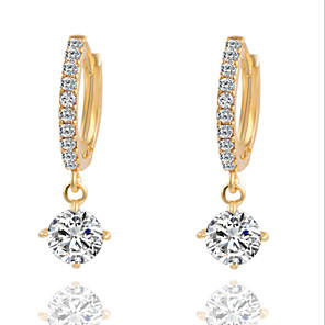 cheap Earrings-Women's Diamond Cubic Zirconia tiny diamond Drop Earrings Chandelier Solitaire Ladies Fashion Cubic Zirconia Silver Plated Earrings Jewelry Gold / Silver For Daily