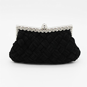cheap Clutches & Evening Bags-Women's Crystals Satin Clutch / Evening Bag / Cosmetic Bag Solid Colored Black / Almond / White / Fall & Winter