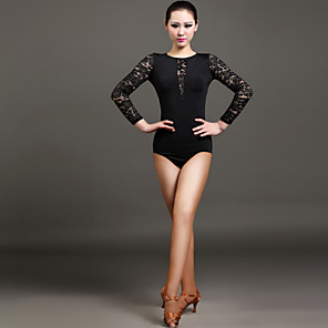 cheap Latin Dancewear-Latin Dance Leotard / Onesie Lace Women's Performance Long Sleeve Natural Lace Viscose
