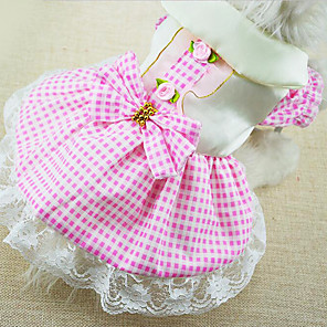 cheap Dog Clothes-Dog Dress Dog Clothes Red Blue Pink Costume Cotton Plaid / Check Fashion XS S M L XL XXL