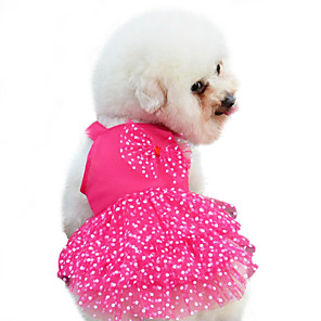 cheap Dog Clothes-Dog Dress Dog Clothes Yellow Red Blue Costume Baby Small Dog Cotton Polka Dot Bowknot Fashion XS S M L XL XXL