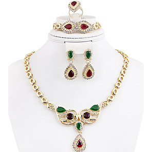 cheap Jewelry Sets-Crystal Jewelry Set Cubic Zirconia, Gold Plated Ladies, Vintage, Party, Link / Chain, Africa, Indian Include Gold / Rainbow For / Earrings / Necklace