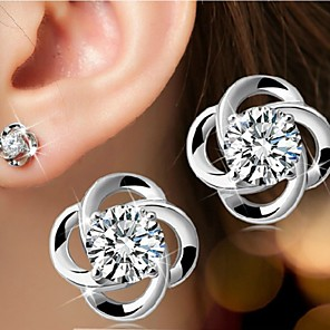cheap Necklaces-Women's Stud Earrings Solitaire Round Cut Flower Ladies Simple Style Birthstones Elegant Bridal Bling Bling Sterling Silver Silver Earrings Jewelry For Wedding Party Daily Casual Sports Masquerade