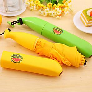voordelige Paraplu's-mini banaan vormige regen paraplu draagbare vouwen parasol (willekeurige kleur)