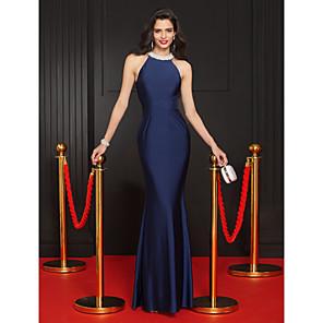 cheap Evening Dresses-Mermaid / Trumpet Minimalist Blue Party Wear Formal Evening Dress Halter Neck Sleeveless Floor Length Jersey with Crystals 2020
