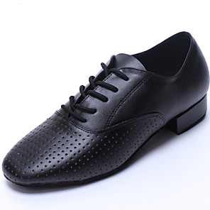 cheap Latin Shoes-Men's Dance Shoes Leather Latin Shoes / Dance Sneakers Flat Flat Heel Customizable Black / Indoor