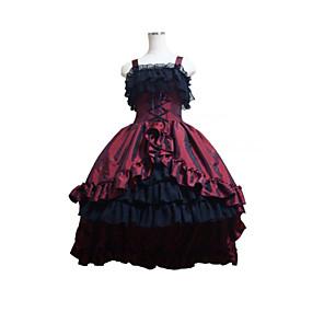 cheap Lolita Dresses-Gothic Lolita Dress Women's Girls' Satin Japanese Cosplay Costumes Plus Size Customized Black Ball Gown Patchwork Sleeveless Medium Length