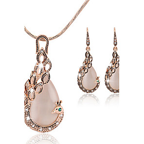 cheap Jewelry Sets-Women's Cubic Zirconia Jewelry Set Stud Earrings Pendant Necklace Pear Cut Peacock Ladies Asian Party Work Fashion Elegant Rose Gold Cubic Zirconia Earrings Jewelry Rose Gold For Wedding Party