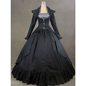 cheap Historical & Vintage Costumes-Victorian Medieval Costume Women's Dress Party Costume Masquerade Vintage Cosplay Satin Cotton Long Sleeve Long Length