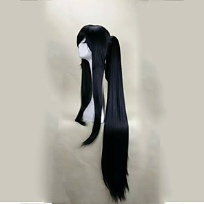 cheap Anime Cosplay Wigs-Cosplay Costume Wig Synthetic Wig Cosplay Wig Straight Straight With Bangs With Ponytail Wig Long Black Synthetic Hair Women's Black hairjoy