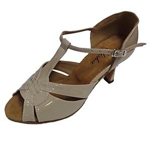 cheap Latin Shoes-Women's Dance Shoes PU Latin Shoes Sandal Customized Heel Silver / Beige / Bronze / Indoor