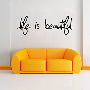 cheap Wall Stickers-Words & Quotes Wall Stickers Words & Quotes Wall Stickers Decorative Wall Stickers, PVC(PolyVinyl Chloride) Home Decoration Wall Decal Wall Decoration / Removable / Re-Positionable