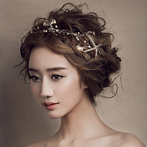 cheap Hair Jewelry-Women's Headbands For Wedding Party Pearl Crystal Alloy Golden