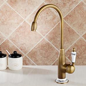 cheap Kitchen Faucets-Kitchen faucet-single handle single hole antique brass high / high arc antique kitchen faucet
