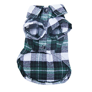 cheap Dog Clothes-Dog Shirt / T-Shirt Plaid / Check Casual / Daily Fashion Dog Clothes Red Blue Green Costume Terylene S M L XL