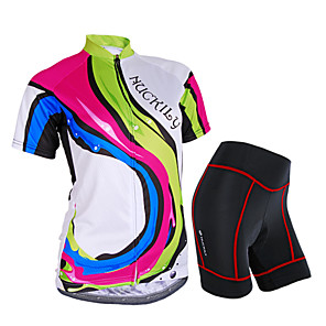 cheap Cycling Jersey & Shorts / Pants Sets-Nuckily Women's Short Sleeve Cycling Jersey with Shorts Camouflage Rainbow Bike Shorts Jersey Clothing Suit Waterproof Breathable 3D Pad Reflective Strips Sweat-wicking Sports Polyester Spandex