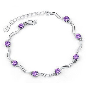 cheap Bracelets-Women's Chain Bracelet Ladies Sterling Silver Bracelet Jewelry White / Purple For Christmas Gifts Wedding / Silver Plated