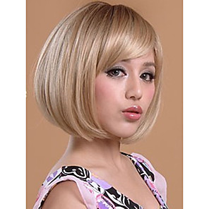 cheap Synthetic Lace Wigs-Synthetic Wig Straight Straight Bob Short Bob With Bangs Wig Blonde Short Synthetic Hair Women's Blonde StrongBeauty
