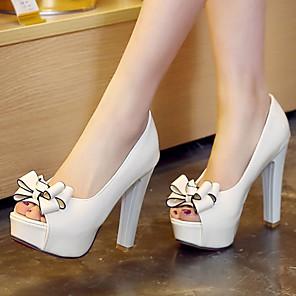 cheap Latin Dancewear-Women's Chunky Heel / Platform Bowknot Microfiber Spring / Summer White / Black / Red / Dress / EU41