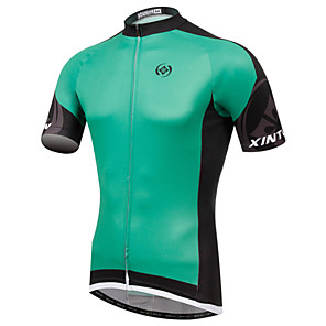 cheap Cycling Jerseys-XINTOWN Men's Short Sleeve Elastane Lycra Green White Bike Jersey Breathable Quick Dry Ultraviolet Resistant Sports Clothing Apparel / High Elasticity