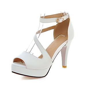 Womens Shoes Leatherette Summer Stiletto Heel Platform for Party  Evening  Dress White Black Blue Pink