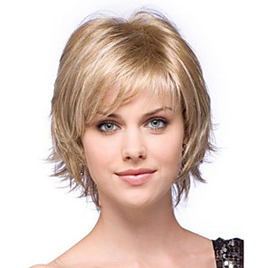 cheap Costume Wigs-Synthetic Wig Natural Wave Natural Wave Bob With Bangs Wig Blonde Short Blonde Synthetic Hair Women's Side Part Blonde StrongBeauty