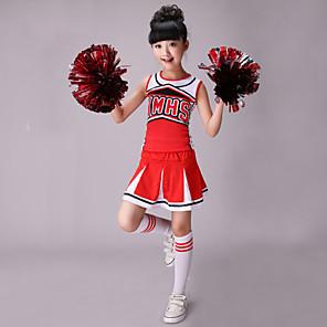 cheap Kids' Dancewear-Cheerleader Costumes Top Pattern / Print Performance Sleeveless High Spandex Cotton