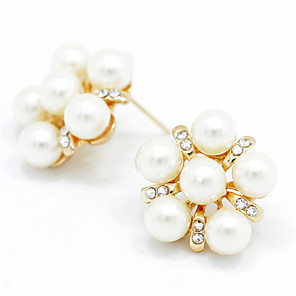 cheap Earrings-Women's Crystal Stud Earrings Stylish Classic Imitation Pearl Earrings Jewelry Rose Gold For Party Special Occasion Party / Evening 1 set