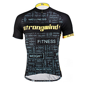 cheap Cycling Jerseys-ILPALADINO Men's Short Sleeve Cycling Jersey Polyester Black / Yellow Black with White Bike Jersey Top Mountain Bike MTB Road Bike Cycling Breathable Quick Dry Ultraviolet Resistant Sports Clothing