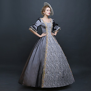 cheap Historical & Vintage Costumes-Rococo Victorian 18th Century Dress Party Costume Masquerade Ball Gown Women's Lace Silk Organza Satin Costume Silver Vintage Cosplay Party Prom Floor Length Ball Gown Plus Size Customized