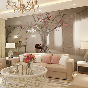 cheap Wall Stickers-Mural Canvas Wall Covering Beautiful 3D View of Floral Piano - Removable Wall Mural Self-Adhesive Large Wallpaper