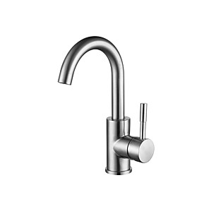 cheap Kitchen Faucets-Bathroom Sink Faucet - Waterfall Brushed Centerset Single Handle One HoleBath Taps