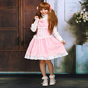 cheap Lolita Dresses-Princess Sweet Lolita Dress Women's Girls' Lace Cotton Japanese Cosplay Costumes Pink Solid Colored Sleeveless Short Length