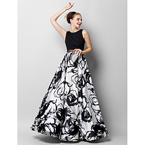 cheap Party Hats-A-Line Elegant Floral Prom Formal Evening Dress Jewel Neck Sleeveless Floor Length Chiffon Charmeuse with Pattern / Print 2020