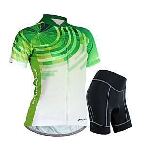 cheap Cycling Jersey & Shorts / Pants Sets-Nuckily Women's Short Sleeve Cycling Jersey with Shorts Green Gradient Bike Shorts Jersey Clothing Suit Waterproof Breathable 3D Pad Reflective Strips Sweat-wicking Sports Polyester Spandex Gradient