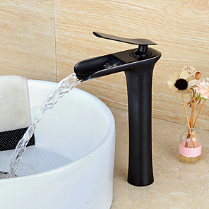 cheap Bathroom Sink Faucets-Bathroom Sink Faucet - Waterfall Oil-rubbed Bronze Vessel Single Handle One HoleBath Taps