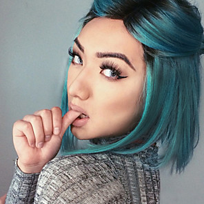 cheap Synthetic Lace Wigs-Synthetic Lace Front Wig Straight Straight Bob Lace Front Wig Blue Synthetic Hair Women's Middle Part Bob Blue