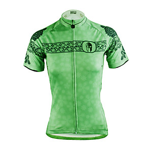 cheap Cycling Jerseys-ILPALADINO Women's Short Sleeve Cycling Jersey Polyester Green Plus Size Bike Jersey Top Mountain Bike MTB Road Bike Cycling Breathable Quick Dry Ultraviolet Resistant Sports Clothing Apparel