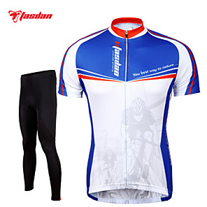 cheap Cycling Jersey & Shorts / Pants Sets-TASDAN Men's Short Sleeve Cycling Jersey with Tights Blue and White Bike Pants / Trousers Jersey Tights Breathable 3D Pad Quick Dry Reflective Strips Back Pocket Sports Mountain Bike MTB Road Bike