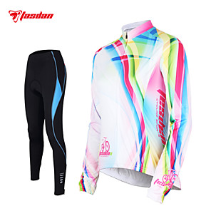 cheap Cycling Jersey & Shorts / Pants Sets-TASDAN Women's Long Sleeve Cycling Jersey with Tights White Rainbow Plus Size Bike Pants / Trousers Jersey Tights Breathable 3D Pad Quick Dry Reflective Strips Back Pocket Winter Sports Rainbow
