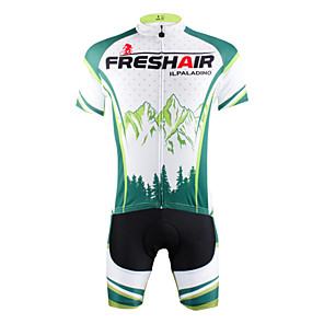 cheap Cycling Jerseys-ILPALADINO Men's Short Sleeve Cycling Jersey with Shorts Green Bike Shorts Jersey Clothing Suit Breathable Quick Dry Ultraviolet Resistant Back Pocket Sports Nature & Landscapes Mountain Bike MTB