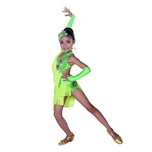 cheap Latin Dancewear-Latin Dance Dress Tassel Crystals / Rhinestones Performance Sleeveless High Spandex Cotton