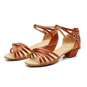 cheap Latin Shoes-Women's Dance Shoes Latin Shoes Ballroom Shoes Sandal Low Heel Non Customizable Nude / Bronze / Kid's / Leather / Satin / Leather / EU39