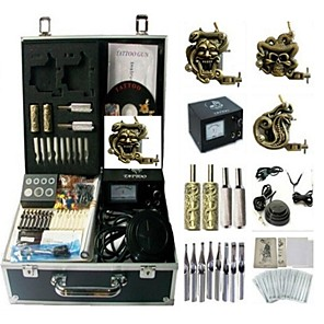 cheap Starter Tattoo Kits-BaseKey Professional Tattoo Kit Tattoo Machine - 3 pcs Tattoo Machines Analog power supply 3 steel machine liner & shader / Case Included